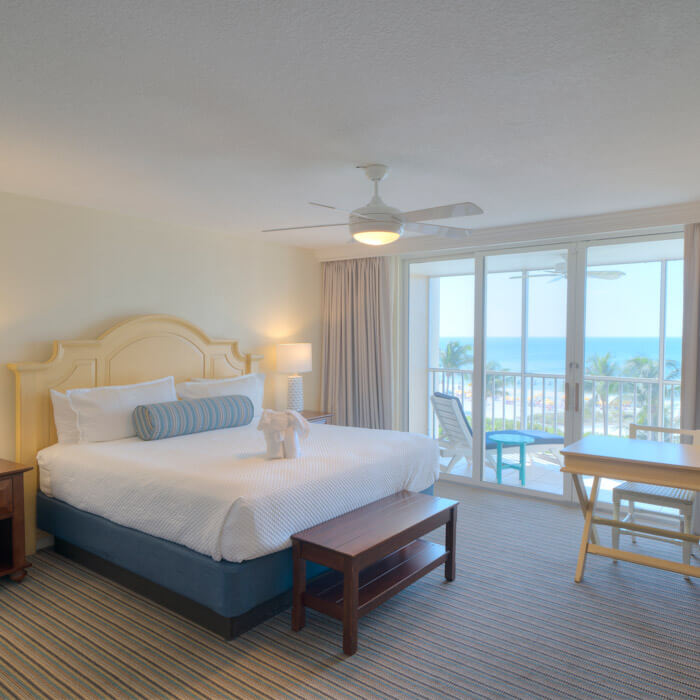 Sanibel View king guest room overlooking fort myers beach
