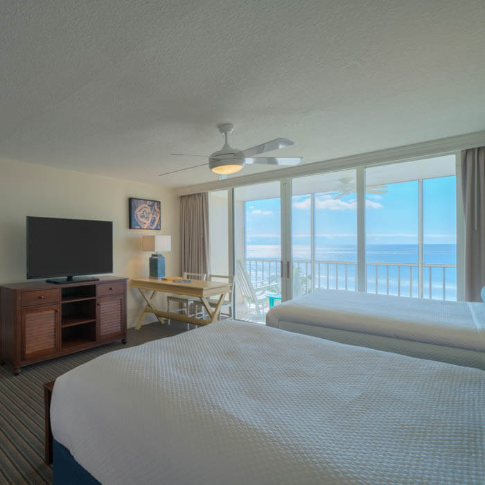 Sanibel View Queen guest room at Pink Shell Resort in Fort Myers Beach