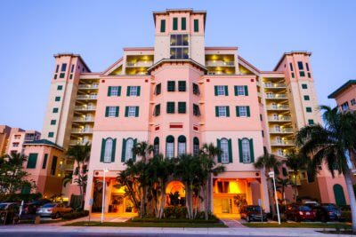 exterior view of Pink Shell resort entrance in Fort Myers